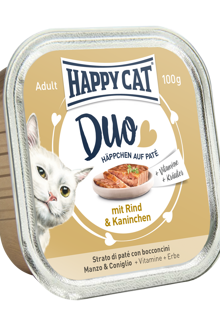 Happy Cat Duo - Nöt och Kanin 100 gram